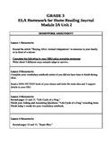 3rd Grade ELA Module 2A, Unit 2 Homework Common Core