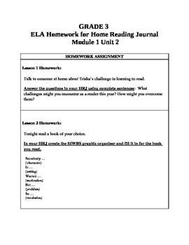 3rd Grade ELA Module1, Unit 2 Homework Common Core