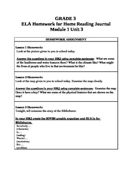 3rd Grade ELA Module1, Unit 3 Homework Common Core