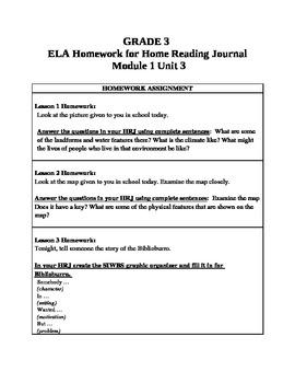 3rd Grade ELA Module1, Unit 3 Homework Common Core
