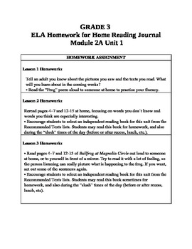 3rd Grade ELA Module 2A, Unit 1 Homework Common Core