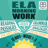 3rd Grade ELA Morning Work: Weeks 1-3 Mini-Bundle (CCSS)