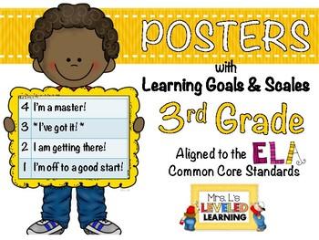 3rd Grade ELA Posters (3RL1-2, RI1-2) with Marzano Scales - FREE!
