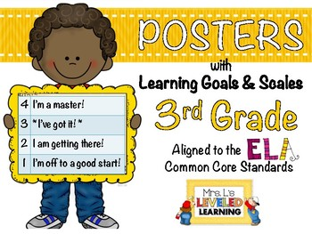 3rd Grade ELA Posters (3RL1-2, RI1-2) with Learning Goals and Scales - FREE!
