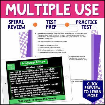 3rd Grade ELA Test Prep Game Show & Review Sheets FSA AIR
