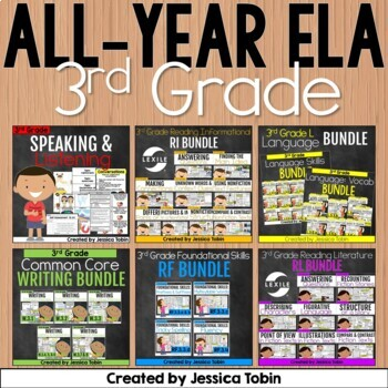 3rd Grade ELA Year-Long GROWING Bundle- All Common Core Standards for ELA