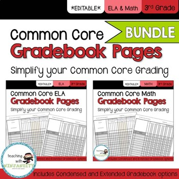 3rd Grade ELA and Math Common Core Gradebook Pages EDITABLE **BUNDLE**