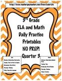 3rd Grade Daily Spiral Review Printables ELA and Math- Quarter 3 NO PREP!