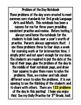 3rd Grade Problem of the Day Notebook- 122 pages! Math and ELA- Morning work