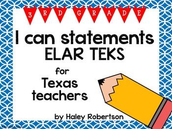 "3rd Grade ELAR ""I can"" statements- Circle pattern (using TEKS)"