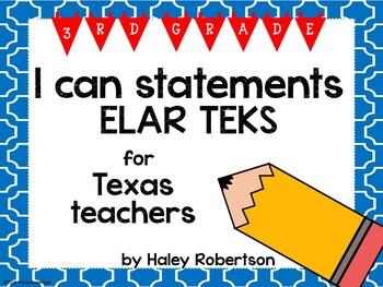 """3rd Grade ELAR """"I can"""" statements- Tile pattern (using TEKS)"""