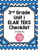 3rd Grade ELAR Unit 1 TEKS Checklist