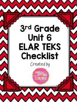 3rd Grade ELAR Unit 6 TEKS Checklist