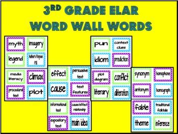 3rd Grade ELAR Word Wall Words