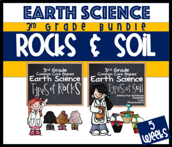 3rd Grade Earth Science Rocks, Minerals, Soil, Fossils & Weathering BUNDLE