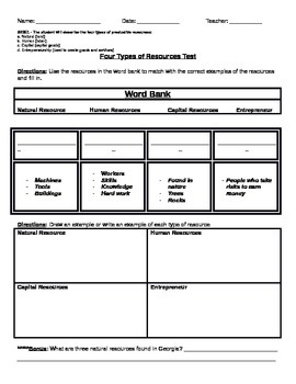 3rd Grade Economics - Different types of Resources Test