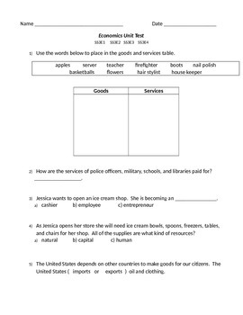 3rd Grade Economics Unit Test