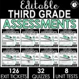 3rd Grade Editable Math Assessments, Exit Tickets, Quizzes