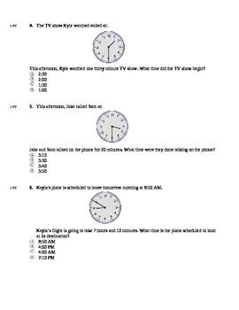 3rd Grade Elapsed Time Quiz (using Clocks)