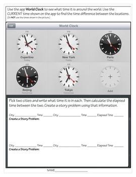 3rd Grade Elapsed Time Using World Clock App