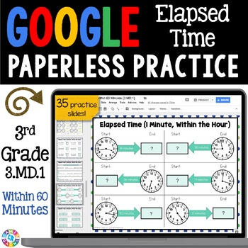 3rd Grade Elapsed Time Within 60 Minutes {3.MD.1} Google Classroom