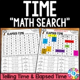 3rd Grade Elapsed Time and Telling Time Math Search {3.MD.1}