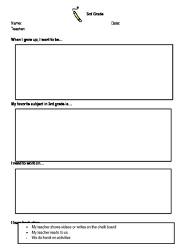 3rd Grade End of School Year Reflection Sheet