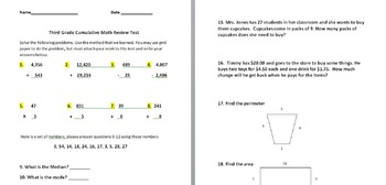 3rd Grade End of Year Cumulative Test/Great for PARCC Standardized Review
