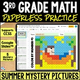 3rd Grade End of Year Math Color-by-Number | Google Classroom Distance Learning