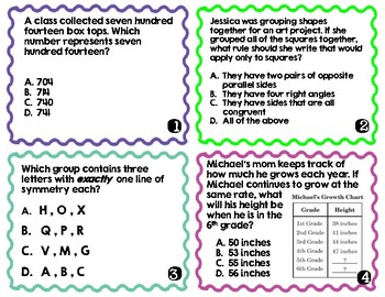 3rd Grade End of Year Math Review Task Cards