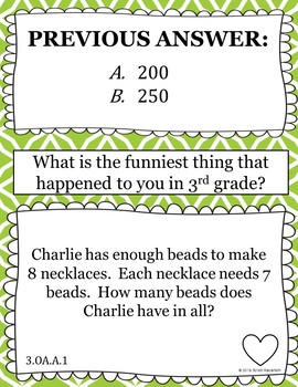 3rd Grade End of Year Math Scavenger Hunt - With Student Reflection