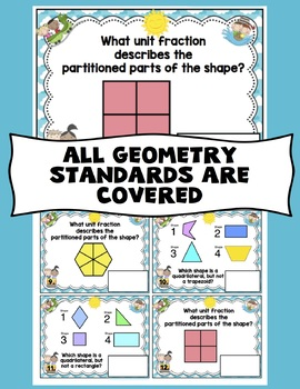 3rd Grade End of the Year Math Digital Task Cards: 3rd Grade (GEO Standards)