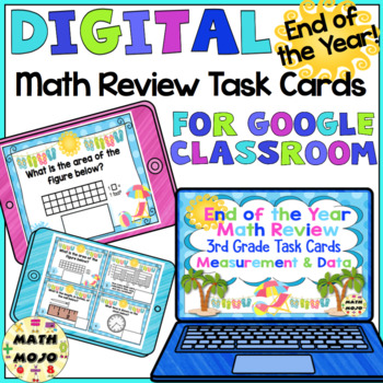 3rd Grade End of the Year Math Digital Task Cards: 3rd Grade (MD Standards)