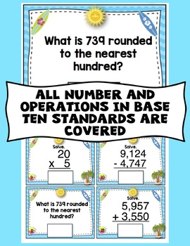 3rd Grade End of the Year Math Digital Task Cards: 3rd Grade (NBT Standards)