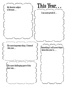 3rd Grade End of the Year Memory Booklet