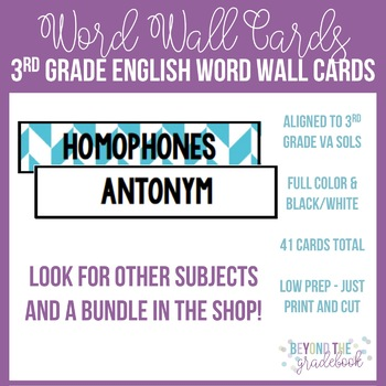 3rd Grade English Word Wall Cards