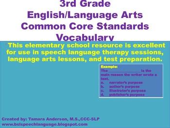 3rd Grade English/Language Arts Common Core Standards Vocabulary