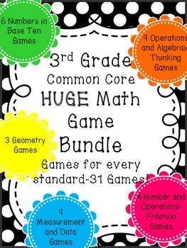 ENTIRE Year-31 Game Math BUNDLE-Multiplication, Division, Area, Perimeter, Mass