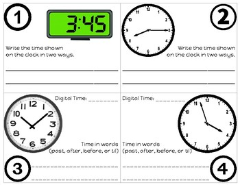3rd Grade Envision Math Topic 12 Time Review Task Cards