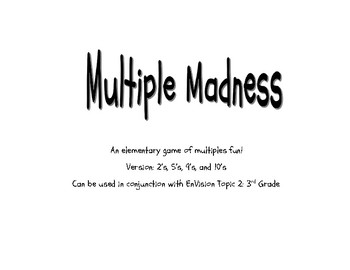 3rd Grade Envision Math Topic 2 Multiples Game for Multiples of 2, 5, 9, 10