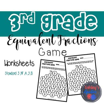 3rd Grade Equivalent Fractions Game Worksheets (3.NF.A.3.B)