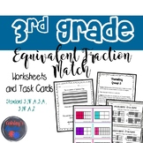 3rd Grade Equivalent Fractions Match and Worksheets (3.NF.A.3.A, 3.NF.A.2)
