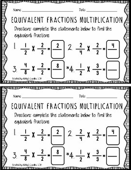 3rd Grade Equivalent Fractions Packet (3.NF.A.3.B)