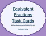 3rd Grade Equivalent Fractions Task Cards and Game - TEKS 3.3 F, G, and H