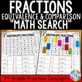 3rd Grade Equivalent Fractions and Comparing Fractions Math Search {3.NF.3}