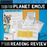 3rd Grade Escape Room Test Prep Reading Review: Escape from Planet Emoji!
