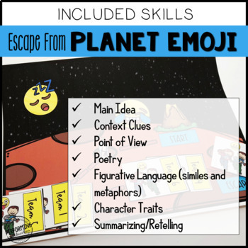 3rd Grade Escape Room Year End Reading Review: Escape from Planet Emoji!