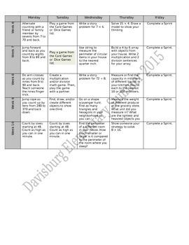 3rd Grade Eureka Math Summer Calendar 10 Weeks