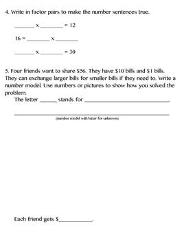 3rd Grade Everyday Math (2015) Unit 8 Study Guide/Pretest
