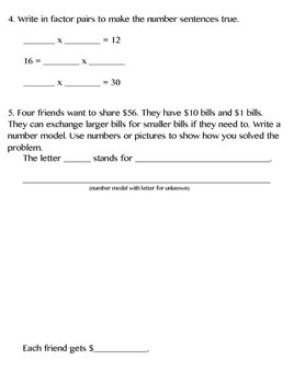 3rd Grade Everyday Math (2015) Unit 8 Study Guide/Pretest